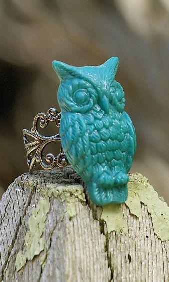 Teal Owl Cabochon Ring. Boho Chic. Novelty Ring