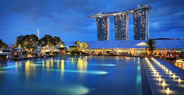 Another View Of Marina Bay Sands From The Lantern Rooftop Bar Pool Fullerton Bay Hotel By