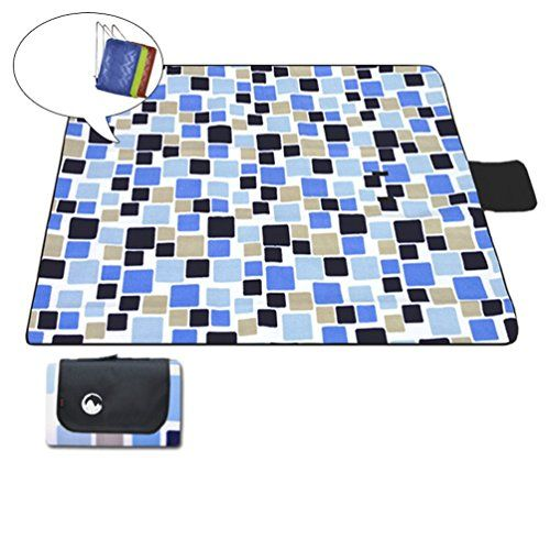 130150CM Flocking Picnic Mat  Picnic Blanket  Waterproof Sand proof CHildren play mat With protable handle Free one storeage bag Blue cube -- Visit the image link more details.