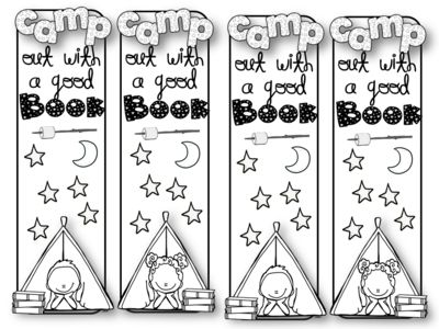 "CAMPING - COLOR YOUR OWN BOOKMARKS from The Primary Reader from The Primary Reader on TeachersNotebook.com (1 page)  - Inspire your kiddos to read about the great outdoors. These are perfect for camp units, summer school and scouts!   ""Clip and Color"" bookmarks are great additions to units of study."