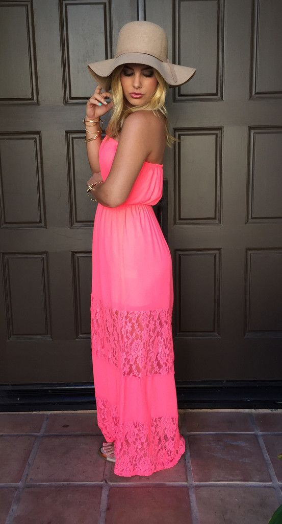 Beach Bum Lace Maxi Dress - Hot Pink Maxi. Lounging on  A Balcony by the Beach or for Walks on the Beach!
