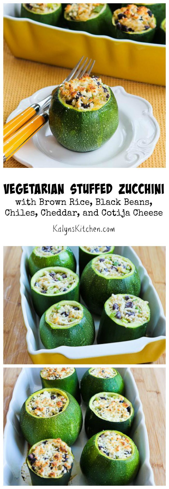 Stuffed zucchini gets a southwestern touch in this Vegetarian Stuffed Zucchini with Brown Rice, Black Beans, Chiles, Cheddar, and Cotija Cheese. [from KalynsKitchen.com] #GlutenFree #MeatlessMonday