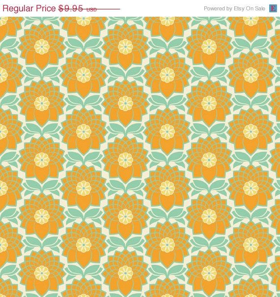 On Sale  Chrysanthemum in Jade JD51  Joel Dewberry by MoonaFabrics, $7.95