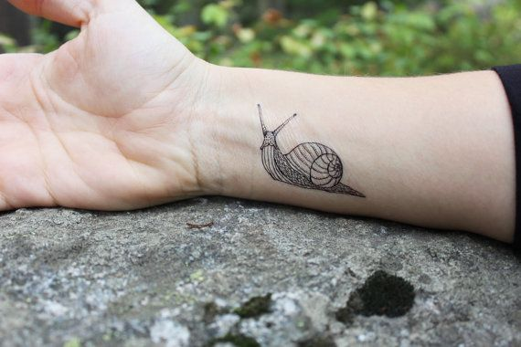 NATURETATS - Snail Temporary Tattoo, Black Outline Tattoo, Bug Tattoo, Shell Tattoo