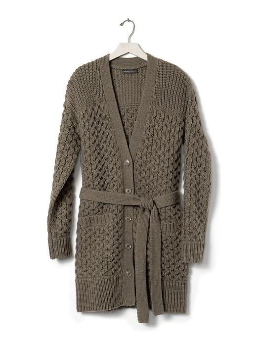 This olive belted cable-knit cardigan in an extra-long ...