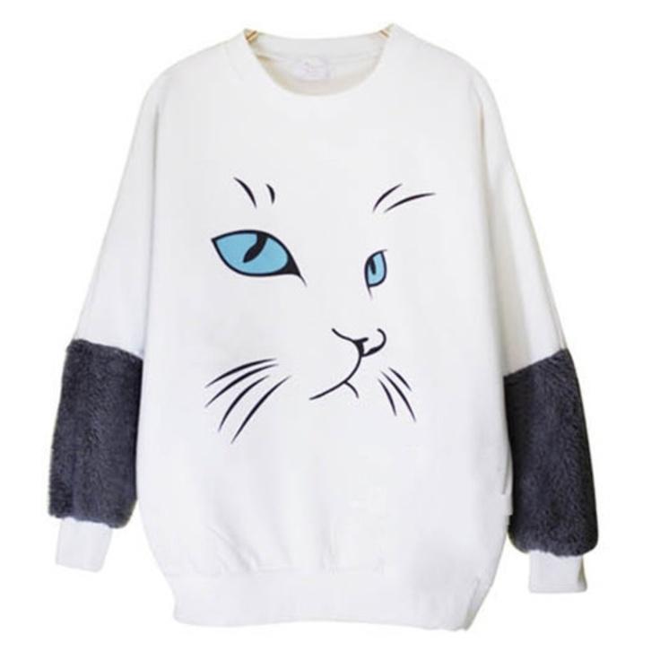 Round Collar Cat Pattern Loose T-shirt