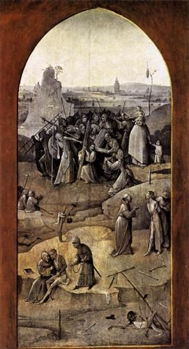 Triptych of Temptation of St Anthony - Artist: Hieronymus Bosch Start Date: 1505 Completion Date:1506 Style: Northern Renaissance Series: The Temptation of St. Anthony Genre: religious painting Technique: oil Material: panel Dimensions: 53 x 131.5 cm Gallery: Museu Nacional de Arte Antiga
