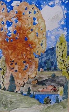 """Marc-Aurèle Fortin  """" Paysage d'automne """"  aquarelle, c.1923"""