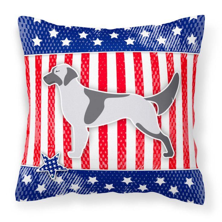 Carolines Treasures USA Patriotic English Setter Square Decorative Outdoor Pillow - BB3281PW1414
