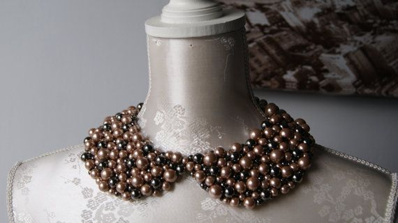 Handmade collar necklace with beige and steel grey pearls beads beaded detachable peter pan collar women accessories round shape removeable