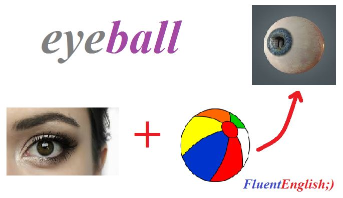 eye + ball = eyeball! (глазное яблоко)