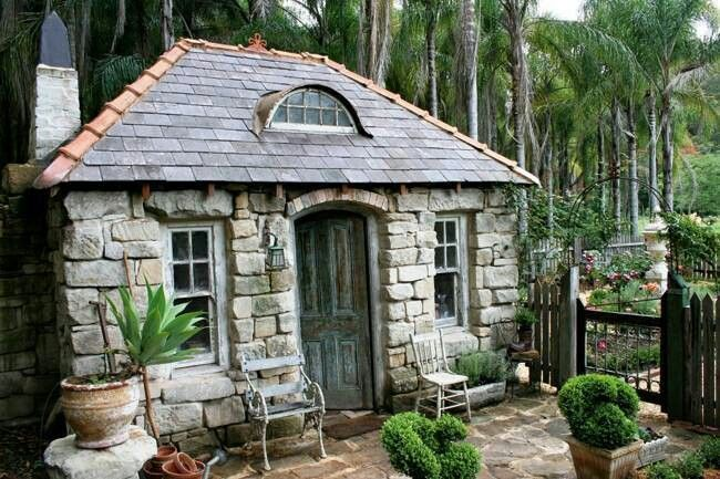 17 best ideas about stone cottage homes on pinterest for Stone garden shed designs