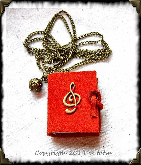 Mini booklet necklace pendant  for musicians. HAND by GuildCosel