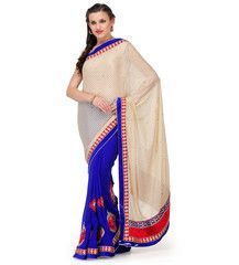 Beige and Royal Blue Brasso and Faux Georgette Half and Half Saree   Fabroop USA   $46.00  