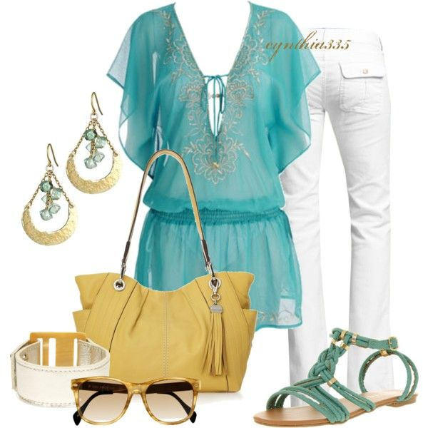 Summer Sky. Teal. Gold. White Pants. Yellow purse.