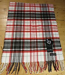 Tartan Scarf in White by Fraas Scarves at Dream Weaver. 100% acrylic but it feels like Cashmere. www.dreamweavergifts.ca