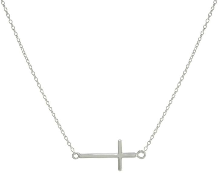 Gemma Collection Silver Side Cross Necklace