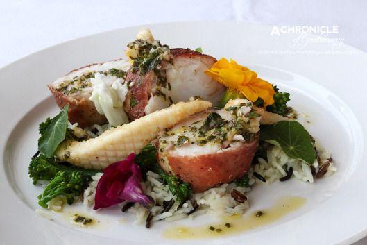 Monkfish Medallions, Baby Calamari & Jamon Serrano - Autumn Dish at Isabella's Restaurant, Rochford Wines