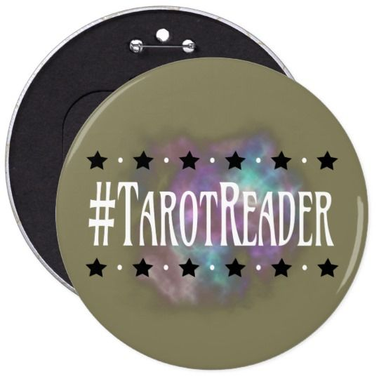 #Tarot Reader Taupe 6 in. Button