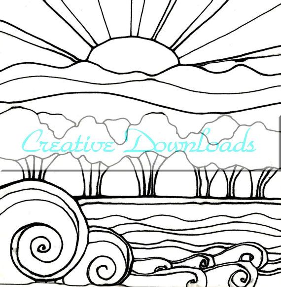 2719 best images about coloring pages hand embroidery clip for Sunset coloring pages for adults