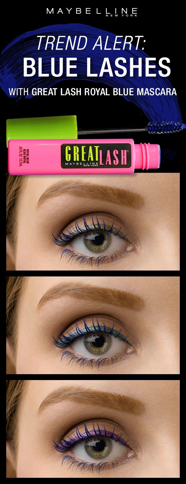 The newest summer makeup trend is blue mascara! Get the perfect bright blue lash look using the Great Lash Royal Blue mascara! It compliments all eye colors and can be paired with all eyeliner looks as a colorful pop.  Click through to see more makeup inspiration using our Great Lash Royal Blue mascara.