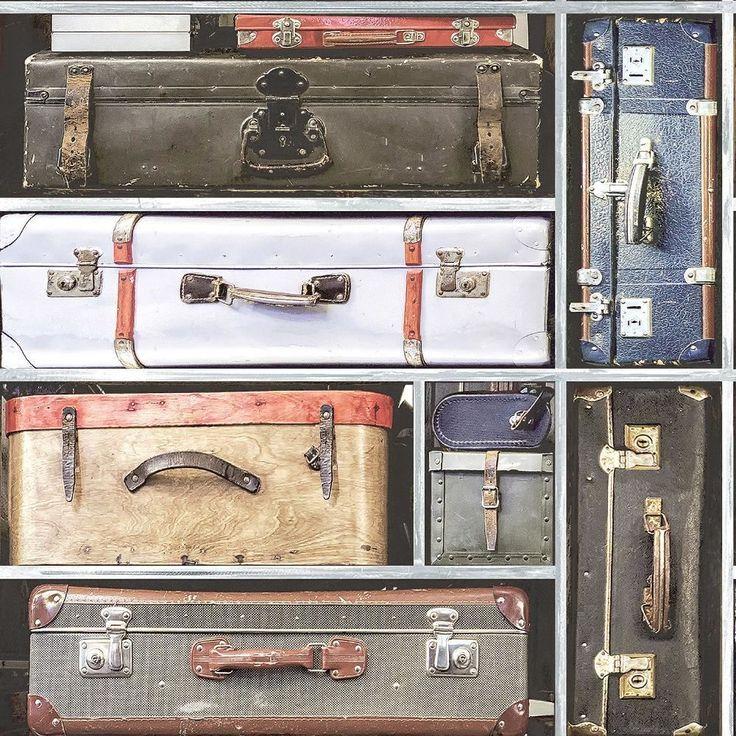 Holden Vintage Suitcase Pattern Wallpaper Retro Reisegepäck Realistisch 11960