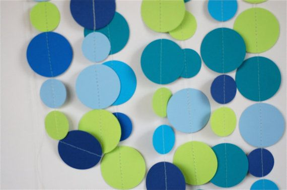 Paper Garland, wedding decor, baby shower decorations, party decorations, nursery decor, teal, baby blue, navy, bright blue, citrus green