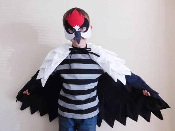 Woodpecker Wings and Mask// Fabric Bird Wings