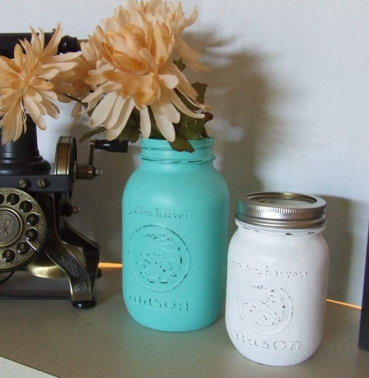 Mason Jars, Painted Mason Jars, Large Mason Jars, White and Aqua Blue Mason Jars, Shabby Chic Decor, Beach Decor, Storage Containers, Vases by BeautyMeetsTheEye on Etsy