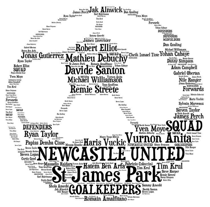 Word Art Design : Football personalised word art newcastle united by