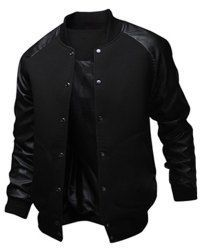 Slimming Trendy Stand Collar Large Pocket Color Splicing Long Sleeve Polyester Jacket For Men (BLACK,L) | Sammydress.com Mobile