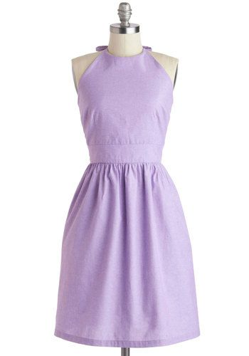 Stroke of Lilac Dress - Purple, Solid, Pockets, Casual, A-line, Halter, Crew, Summer, Daytime Party, Mid-length, Cotton, Exclusives