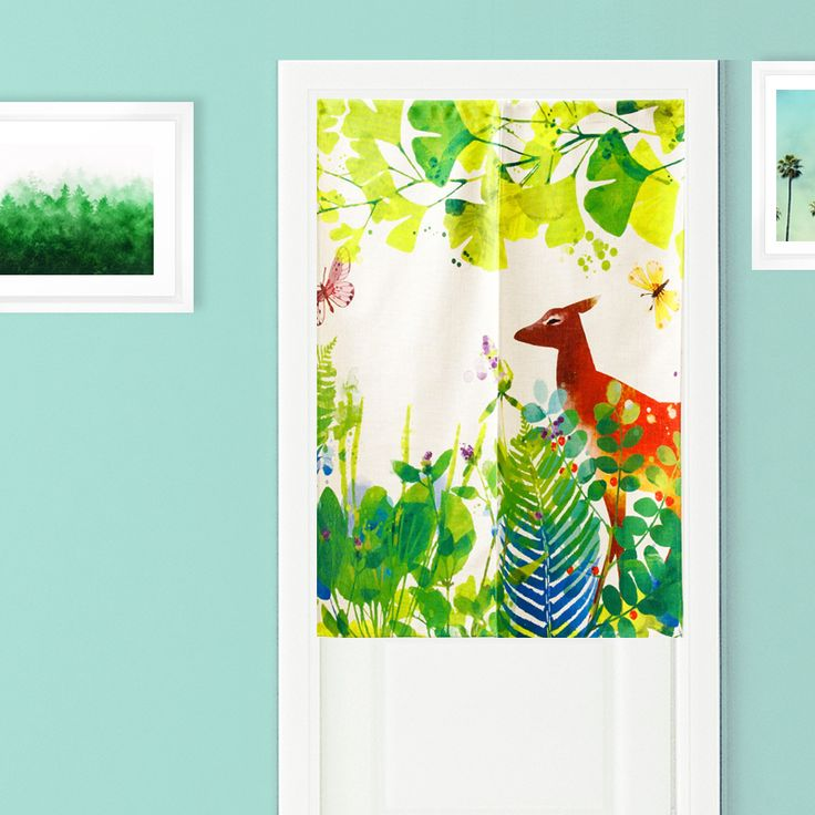 Green Field Jungle Plant Deer Horse Linen Fabric Living Room Bedroom Children Half Curtain Partition Home Decoration Curtains #Affiliate