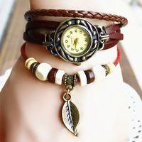 Vintage Bronze quartz watch Wings pendant clock Ladies Bracelet Leather Watch Hand-woven bracelet ladies dress Watch NP140Q