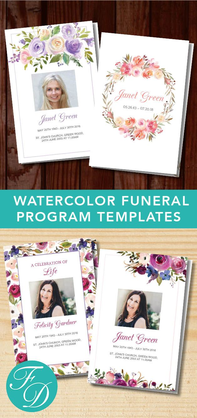 Watercolor Printable Funeral programs ready to edit & print. Simply purchase your funeral templates, download, edit with Microsoft Word and print. #obituarytemplate #memorialprogram #funeralprograms #funeraltemplate #printableprogram #celebrationoflife #funeralprogamtemplates