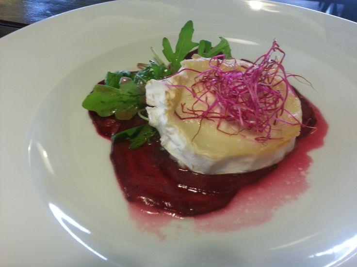Grilovaný kozí sýr s carpacciem z červené řepy s rukolou, ciabatta. Restaurace U Katanů Braník.