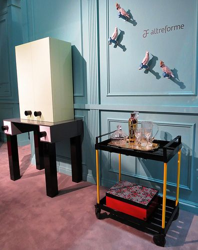 #ernest cabinet and #fernand cart, #design by Elena Cutolo for #altreforme A Moveable Feast #stand @iSaloni 2014 #paris #anni20 #roaringtwenties #designweek #interior #home #decor #homedecor #furniture with #woweffect #aluminium