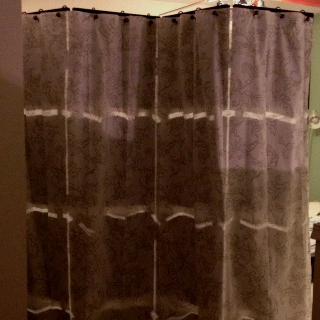 DIY room divider with a cloth Tahari shower curtain and fancy hooks ...