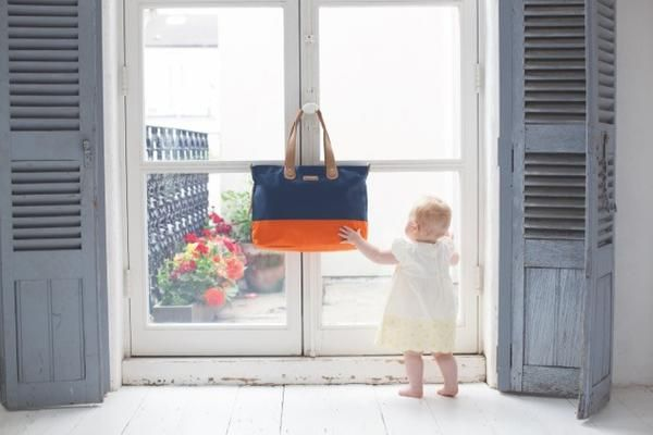 Baby Bag - Storksak Tote Navy Orange - Baby Luno