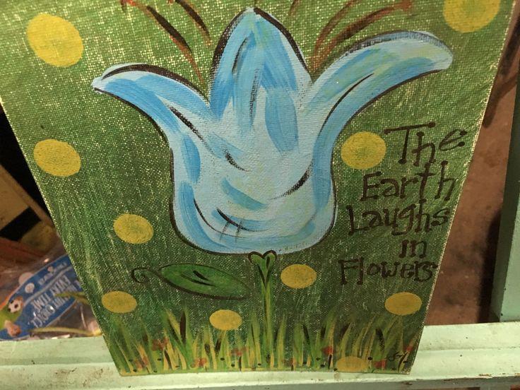 Vintage Hand Painted Blue Tulip Flower Picture--OOAK--Sunday Artist Art--Canvas…