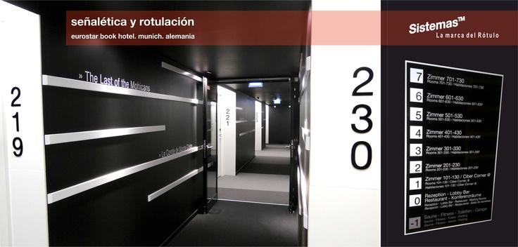 Trabajo de Rotulación Interior en hotel Eurostars Book. Munich. Alemania