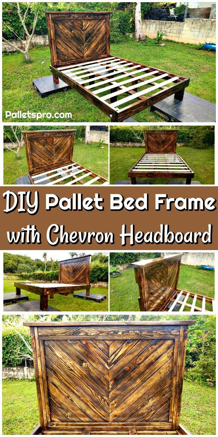 DIY Pallet Bed Frame with Chevron Headboard