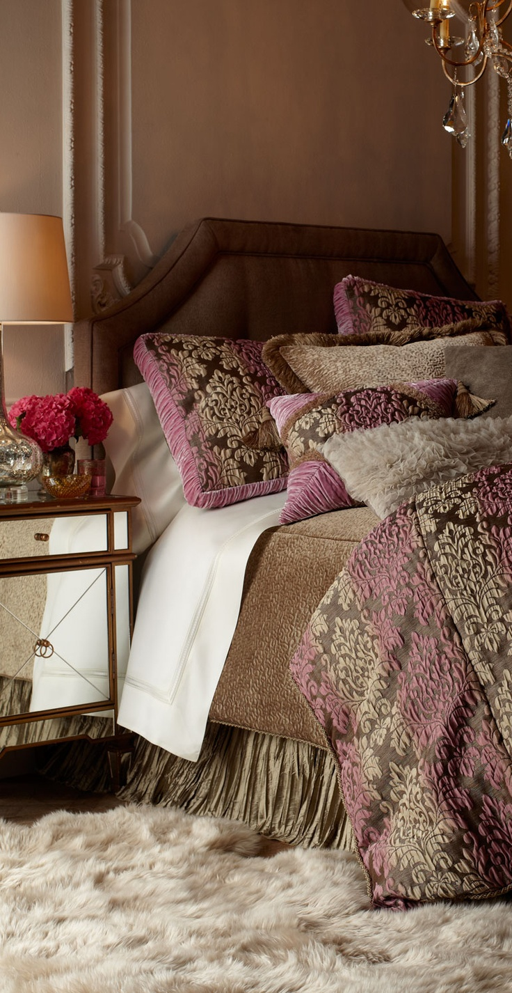 opulent, romantic bedding. antique orchid and cappuccino. similar designs available DesignNashville