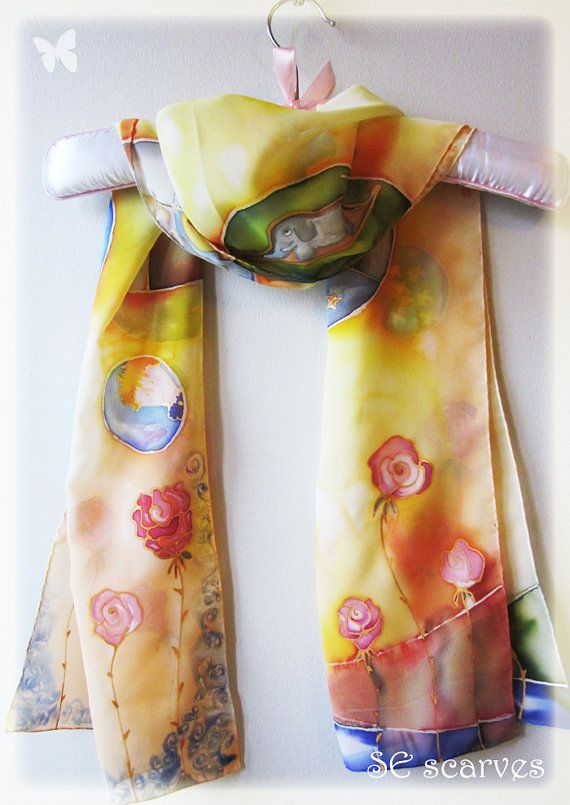 Hand painted scarf. Le petit prince / The little prince  by SEscarves, €42.50