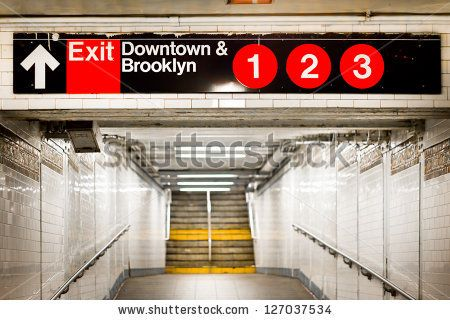 New York City subway passageway and sign to Brooklyn by littleny, via ShutterStock