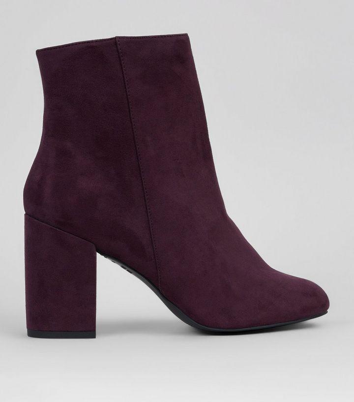 Purple Suedette Block Heeled Boots | New Look