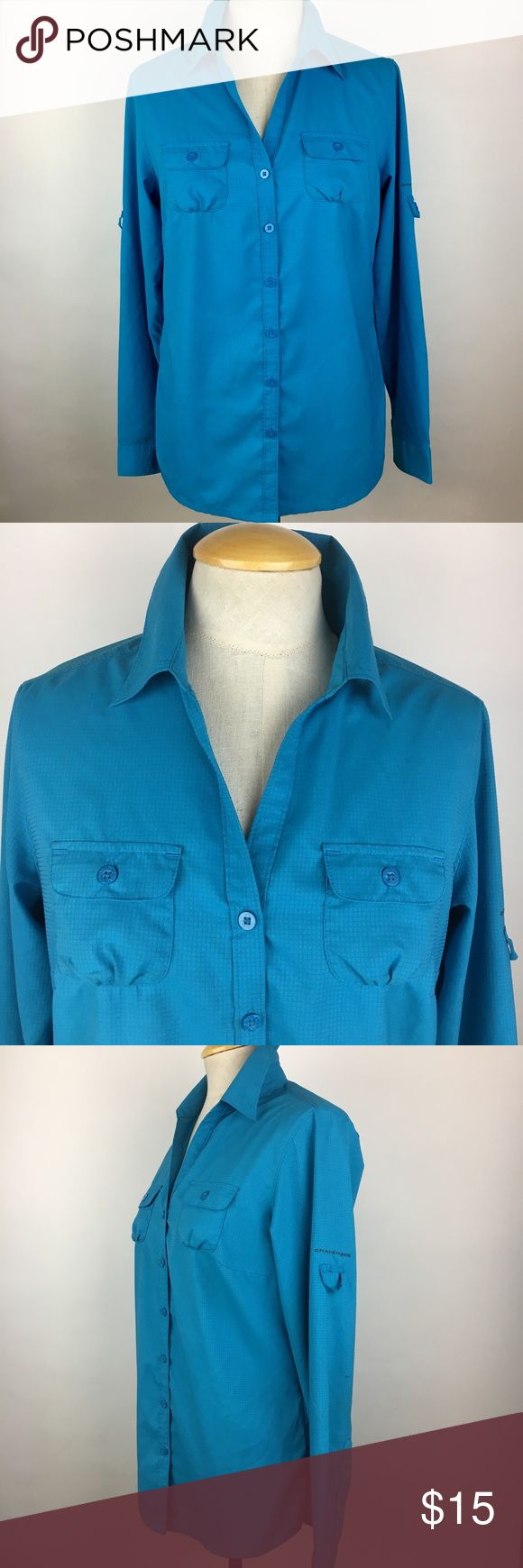 """Columbia Omni-shade Blue Long Sleeve Button Down This Columbia Omni shade long sleeve button up shirt is in very good condition- no rips or stains. There are two areas with some fabric pulls- see last two photos. Omni-shade fabric blocks UVA and UVB rays to help protect you from the sun during your travels, adventures and everyday. Size small. Measurements: Bust- 36"""" Waist- 34"""" 25"""" long 23.5"""" long sleeves Columbia Tops Button Down Shirts"""