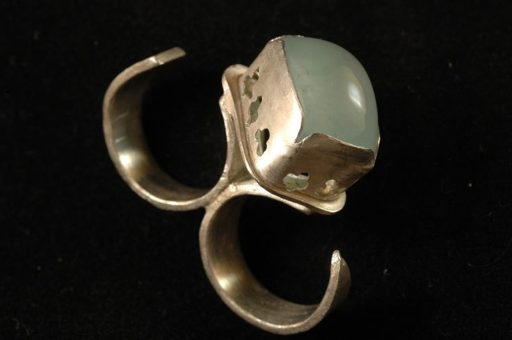 silver double ring with aqua