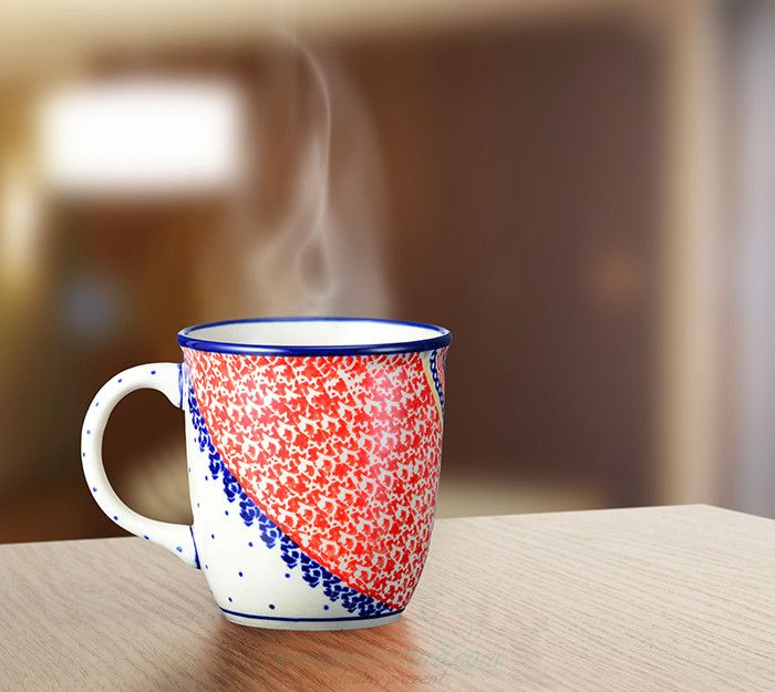 Classic mug. Artistic decoration number 250A. Decorated by hand using stamps and signed by the artist.