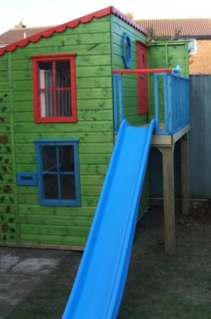 Wooden Playhouse With Slide | Playhouse with pent roof & slide (PC051253) - tree house, playhouses ...